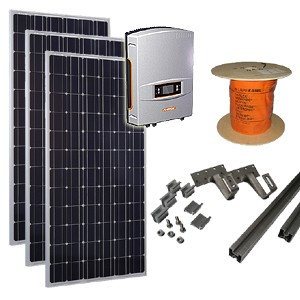 zonnepanelen set D / zonnepanelen pakket D - Zonnepaneln, omvormer, kabels en montagemateriaal